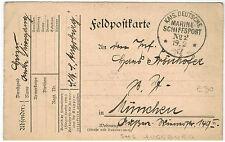 Fieldpost Card sent fm SMS Augsburg via German Marine Fieldpost #22, 1917