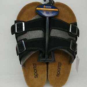 Sporto Mens Charlie Black Slide Sandals Size XL 11-12 Suede Buckle Flex Comfort