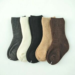 2/10 Pairs Baby Mongolia 100% Wool Cashmere Solid Boy Girls Kids Socks Age 0-6Y