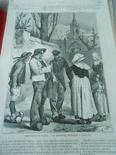Gravure 1871 - Souvenir de la guerre le Retour du Prisonnier