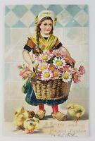 Postcard Happy Easter Tucks Women Girl Basket of Flowers Baby Chicks 1907