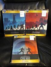 Avengers 1 + 2 Ultron + Captain America Civil War Blu-Ray Digital HD Steelbook