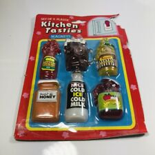 Vintage Kitchen Tasties Jar Bottle Barbie Doll Sized Plastic Magnet Set