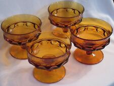 Vintage Indiana Glass Kings Crown Amber Champagne/Tall Sherbet Set 4