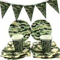 Camouflage Theme Tableware Plate Banners Set Birthday Party Supplies Disposable