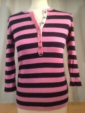 Ralph Lauren Top Long Sleeved Shirt Pink & Black Striped Small 100% Cotton Women