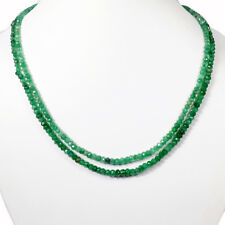 Untreated Natural Colombian Green Emerald Semi-translucent Beaded Necklace~