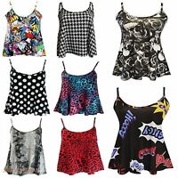 WOMENS PRINTED SWING VEST STRAPPY SLEEVELESS LADIES FLARED PLUS SIZE CAMI TOPS