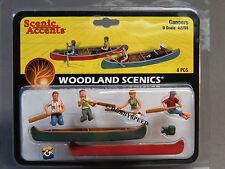 WOODLAND SCENICS CANOERS o gauge train figures boats paddles river camp WDS2755