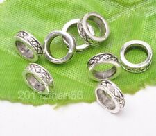 50pcs Tibetan silver charm big hole bead spacer loose beads 8mm B3139