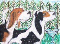 TREEING WALKER COONHOUND Drinking Coffee Collectible Dog Art Print 8 x 10 KSAMS