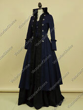 Victorian Steampunk Gothic Military Navy Coat Dress Witch Halloween Costume 176