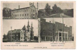 Postcard MI Borges Hospital, Nazareth Academy, Le Fevre Kalamazoo, Michigan 1905