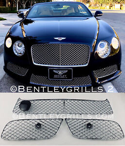 BENTLEY CONTINENTAL V8 GT GTC CHROME GRILLS COMPLETE UPPER AND LOWER SET 5 PCS
