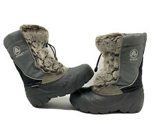Crocs Snomini Youth 12-13 Brown Faux Fur Gray Snow Boot Insulated Primaloft