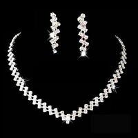 New Crystal Rhinestone Earrings Necklace Wedding Bridal Bridesmaid Jewellery Set