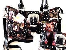 Beautiful Handbag + Crossbody Wallet Set American Cowgirls Wild West Design NWT