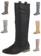 Damenschuhe im Kniehohe Stiefel-Stil mit Kunstleder und Reißverschluss für Kleiner Absatz (Kleiner als 3 cm)