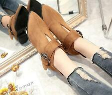 Women Flat Buckle Ankle Boot Casual British Boat Pointy Toe Pull On Hollow Shoes