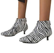 Womens Kitten Heel Ankle Boots Ladies Pointy Toe Zipper Office Shoes 43 44 45 D