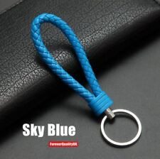 Sky blue Car Keychain Key Chain Key Ring Key Fob Leather Rope Strap Weave