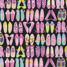 Pretty Pink Shoes on Black Slippers High Heels Quilting Fabric FQ or Metre *New*