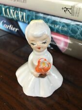 Vintage 1950's-60's Lady In White Dress Carrying Orange Flower Small Figurine