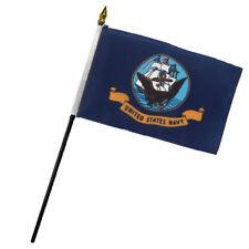 "Navy Ship 4""x6"" Flag Desk Set Table Stick"