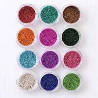 12 Pots Colors Caviar mini Balls Micro Beads Nail Art Acrylic UV 3D Decoration
