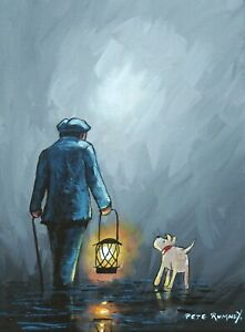 Pete Rumney Original Canvas Art Wanderers In The Night Lamplight Man and Dog NR