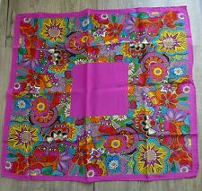 Laurel Burch Silk Scarf Square Colorful Cats Silk Purse Accessory Hand Rolled