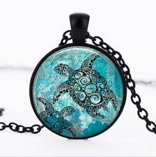 Sea Turtles Black Glass Cabochon Necklace chain Pendant Wholesale