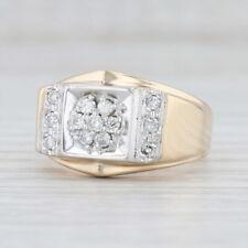 0.40ctw Men's Diamond Cluster Ring 10k Yellow Gold Size 10.25 Vintage