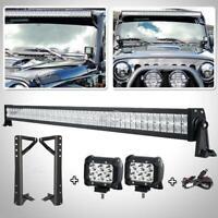 "52"" 700W+2× 18W LED Light Bar + Mount Bracket + Free Wiring For Jeep Wrangler JK"