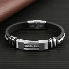 Chic Black Rubber Silver Stainless Steel Cool Sports Wristband Bracelets For Men