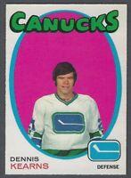 1971-72 O-Pee-Chee Vancouver Canucks Hockey Card #231 Dennis Kearns RC