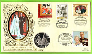 Uncirculated Isle of Man Crown Queens golden wedding 1997 Benham coin cover PNC