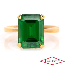 Estate Green Quartz 14K Yellow Gold Solitaire Pinky Ring NR