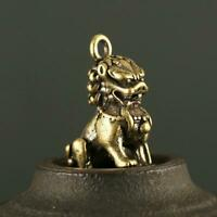 Antique Brass Lion Pendant Small Statue China Zodiac Pocket Gift Ornament Luck