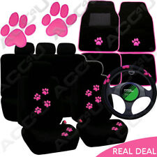 Pink Paw Black Mesh Design Car Seat Covers Set Mats Steering Wheel Cover Package