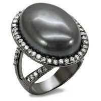 Ladies Hematite Dark Stone TIN Cobalt Black Gold Plated Le Glace Ring