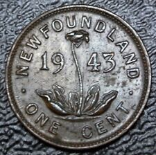 OLD CANADIAN COIN 1943 NEWFOUNDLAND - ONE CENT - BRONZE - George VI - NCC