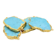 14K Yellow Gold Plated Irregular Blue Turquoise Charm Pendants Fit Necklace Diy
