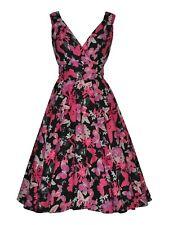 Summer Butterfly Floral Vintage Black Pink Dress New Size UK 10