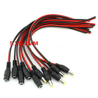 5pair 12V 5.5x2.1mm Male + Female DC Power Socket Jack Connector Cable Plug Wire