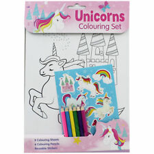 Unicornios-A4 Set colorante (con Pegatinas)