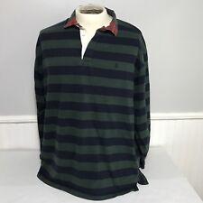 Polo Ralph Lauren Rugby Shirt Striped Blue Green Plaid Collar X Large XL Vtg 90s