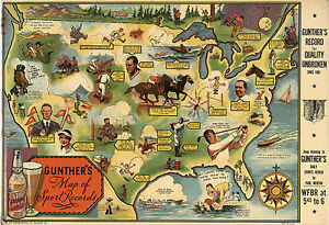 """1935 Gunther's Map of Sports Records Pictorial Vintage Wall Art 11""""x16"""" Decor"""