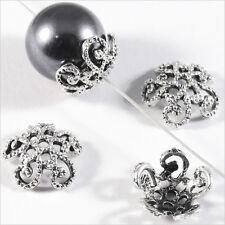 Lot 50 Calottes pour bijoux Spirales Métal Argenté 12 x 4 mm / Trous 1mm