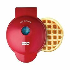 """Dash Mini 4"""" Waffle Maker Non Stick  350 Watts Red Brand New!"""